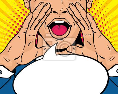 Макрофотография молодой удивлен поп-арт человек с открытым ртом и поднимая руки кричать объявление. Векторный фон в стиле комиксов ретро поп-арт. Приглашение на вечеринку.