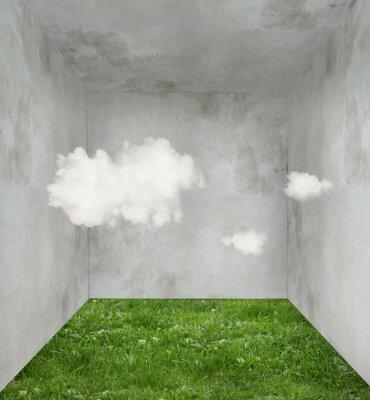 Картина Облака и травы в комнате