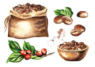 Картина Набор кофейных зерен. Акварель рисованной иллюстрации, изолированных на белом фоне