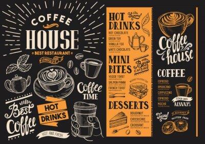 Картина Меню кофе-ресторана. Бумага для напитков для бара и кафе. Дизайн шаблона с винтажными рисованными иллюстрациями пищи.