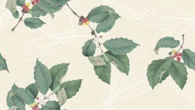 Картина Coffee tree seamless pattern, branch of coffee tree on light yellow background, vintage style