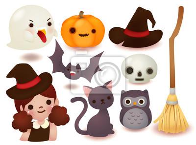 Коллекция милый значок Хэллоуина