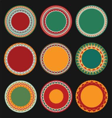 Картина Коллекция мексиканского Круглый Рамки декоративные границы с черным Заполненные Фон