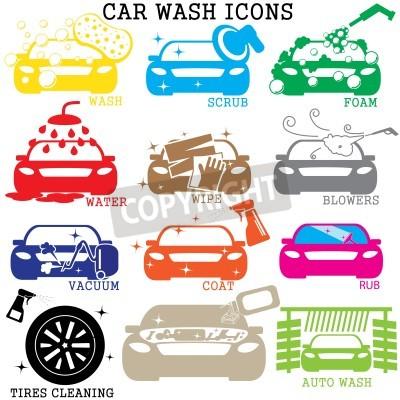 Картина Значки цветной автомойки на белом фоне