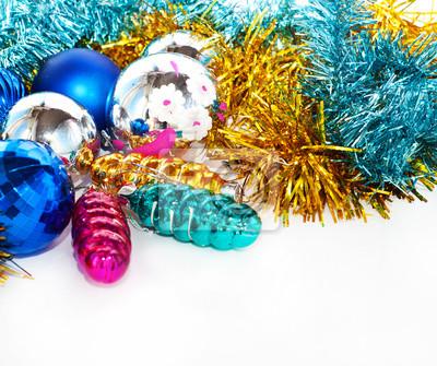 Цвет новогодние шары и игрушки фона