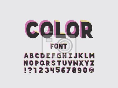 Color font. Vector alphabet