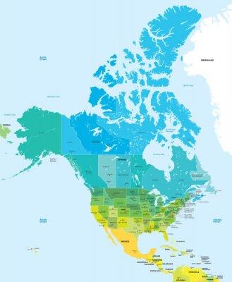 Картина Цветная карта США и Канады