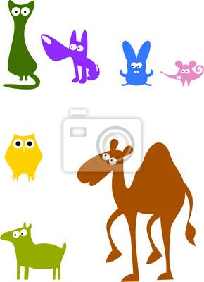 Цветные животных силуэты 2
