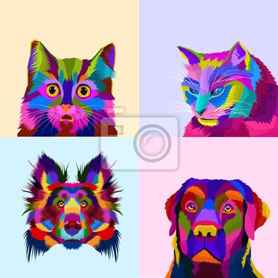 colorful animal set pop art portrait illustration