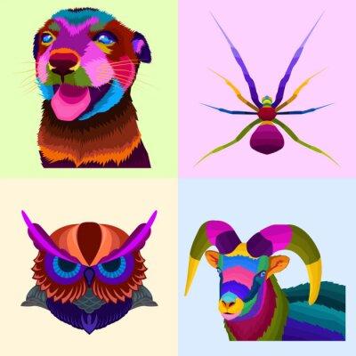 colorful animals set pop art portrait