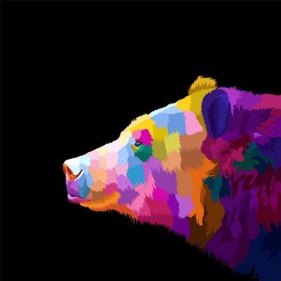 colorful bear pop art portrait vector