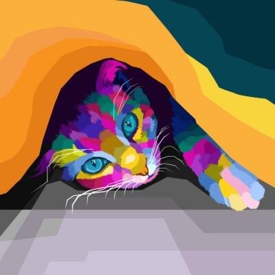 colorful cat polygonal geometric pop art style