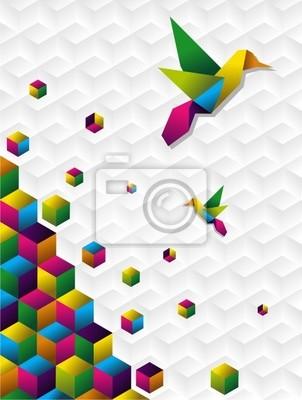 Красочные кубов в движении