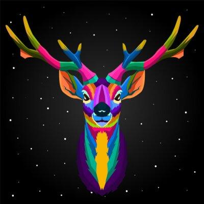 colorful deer pop art portrait animals