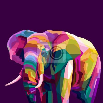 colorful elephant pop art portrait vector