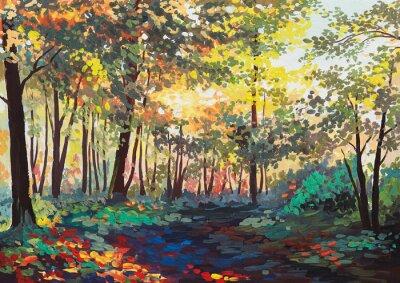 Картина красочный лес с деревьями весной на закате, живопись маслом