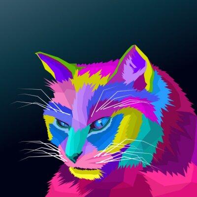 colorful head cat pop art  portrait vector
