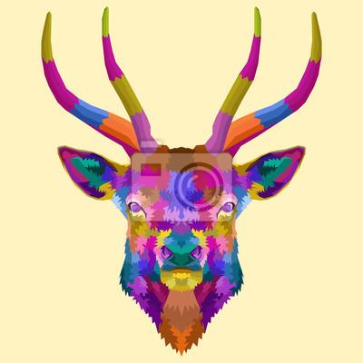 colorful head deer pop art portrait animals