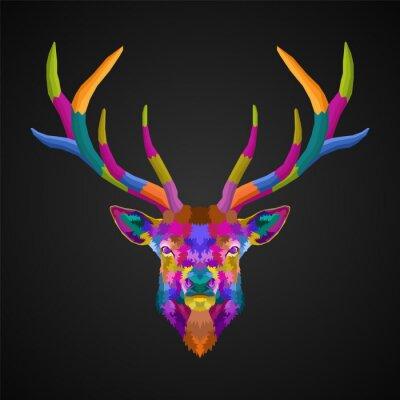 colorful head deer pop art portrait vector illustration
