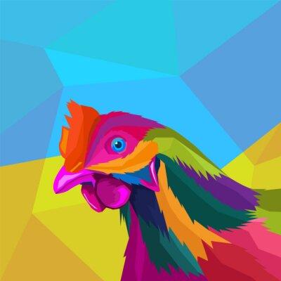 colorful head rooster pop art portrait