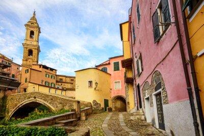 Картина Красочные дома в старом городе Дольчедо, Лигурия, Италия