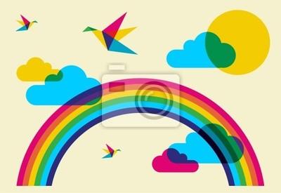 Красочные колибри и радуга
