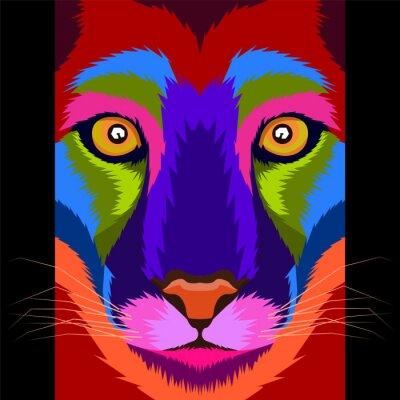 colorful lion king pop art portrait vector illustration