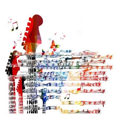 Картина Красочный музыкальный гитара фон. Вектор