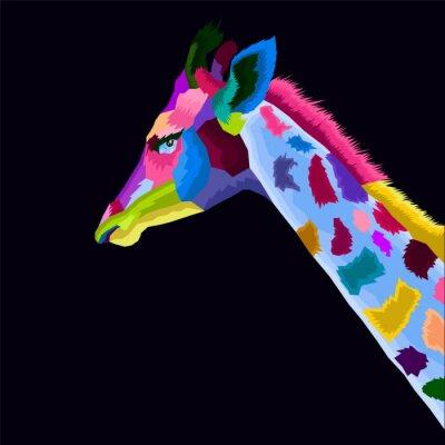 colorful of giraffe pop art portrait vector