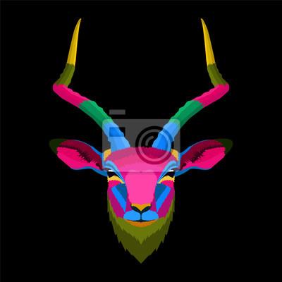 colorful of head deer pop art portrait