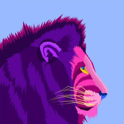 colorful of lion king pop art portrait vector illustration