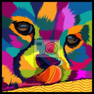 colorful of tiger pop art portrai style vector  illustration