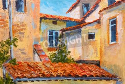 Картина красочная картина маслом - крыши домов, европейская улица, Импрессионизм