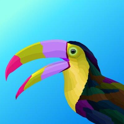 colorful polygonal bird pop art portrait
