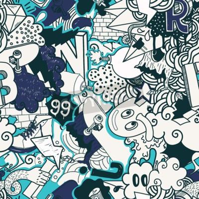 Картина Красочные бесшовные модели. Граффити doodles уличного искусства иллюстрации в голубых тонах. Состав причудливых элементов и персонажей для скейтборда, уличной одежды, уличной одежды, текстильных ткане