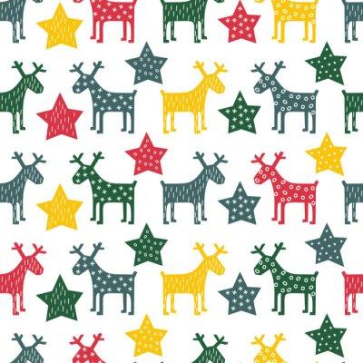 Картина Красочные бесшовные ретро Рождественские шаблон - Рождество северный олень и ночные звезды. Счастливый Новый год фон. Векторный дизайн для зимних праздников на белом фоне.