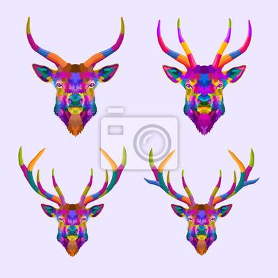 colorful set deer pop art portrait,can be used to design for T-shirt, card, poster, invitation. Vector illustration