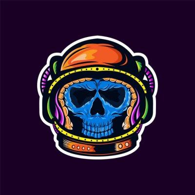 colorful skull astronaut pop art portrait creative artwork illustration