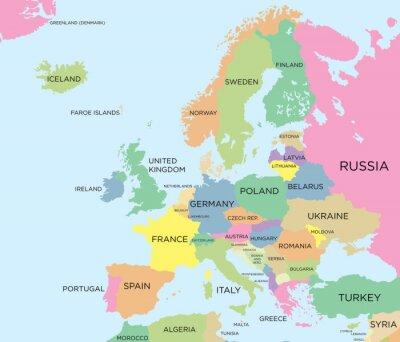 Картина Цветная политическая карта Европы