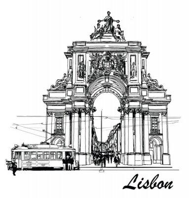Картина Торговые площади в Лиссабоне