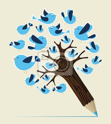 Концепция связи птиц карандаш дерево