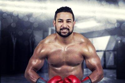 Картина Композитный образ мышечной человек бокса в перчатках