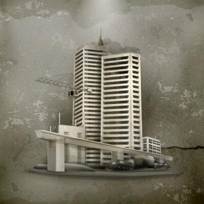 Картина Строительство старый стиль