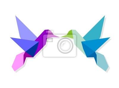 Пара красочных оригами колибри