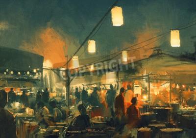 Картина толпа людей, идущих на рынке в ночное время, цифровая живопись
