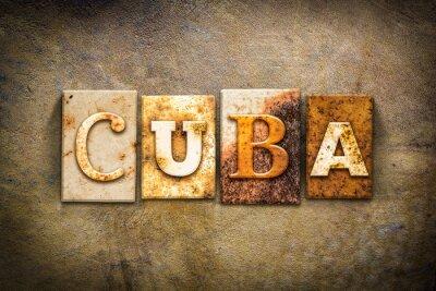 Картина Куба Концепция Letterpress Кожа Тема