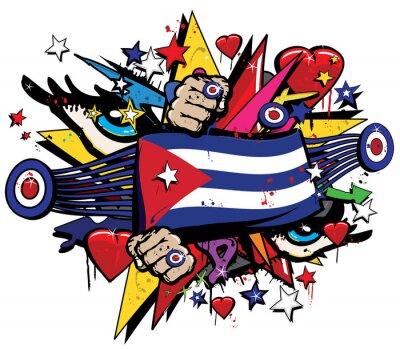 Картина Куба флаг Гавана граффити баннер Graff эмблема уличного искусства серпантин гнездо прапорщик цвета Кубинская революция Graff вектор спрей