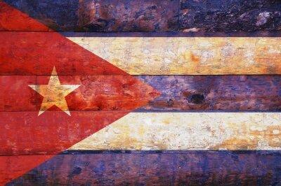 Картина Куба флаг в старый деревянный.