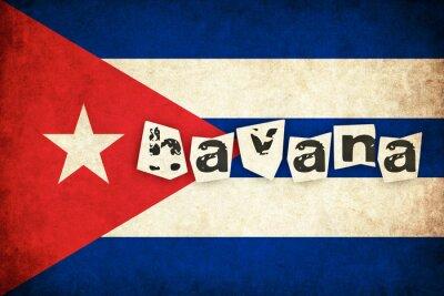 Картина Куба флаг гранж иллюстрация страны с текстом