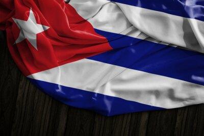 Картина Кубинский флаг на деревянный стол